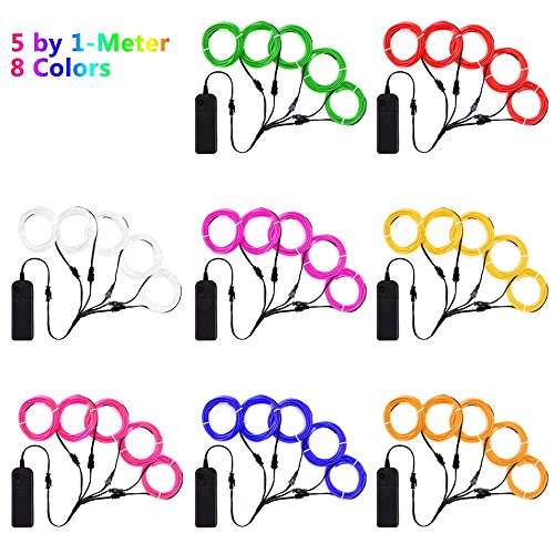 Zitrades EL Wire Neon Lights Kit with Portable AA Battery Inverter for Halloween Christmas Party DIY Decoration (Red, Green, Pink, Purple, Blue, White, Yellow, Orange, 5 by 1-Meter, 8 Pack) by Zitrades