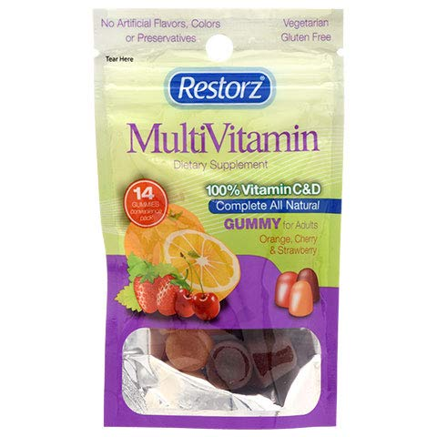 Lot of 3 Packages of Restorz MultiVitamin 100% Vitamin C & D for Adults (14 gummies/package)