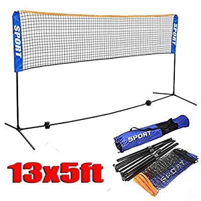 Yaheetech 13 ft Portable Badminton/Tennis/Volley Net Set Adjustable Height Poles Frame Stand Indoor/Outdoor Professional Sports Training Net