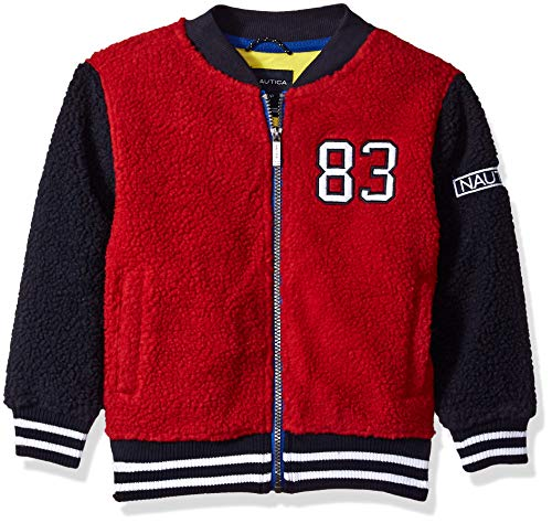 (Nautica Boys' Little Varsity Bomber Sherpa Fleece Jacket, Richie red Rouge, 5)