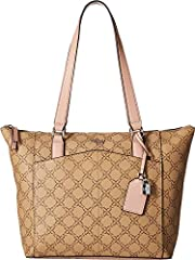 Strut with the classically inspired Nine West® Atwell Tote. Faux-leather material boasts brand logo pattern throughout. Dual shoulder straps with key-tag detail. Zip closure. Exterior features slip pocket. Interior offers a single zip pocket...