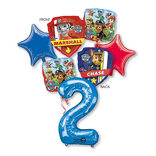 PAW PATROL 2ND BIRTHDAY BALLOONS WITH MINI SHAPE BIRTHDAY PARTY BALLOONS BOUQUET DECORATIONS CHASE MARSHALL by Anagrem