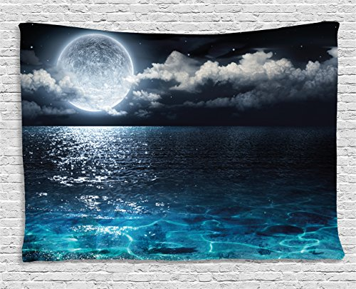 Ambesonne Night Sky Tapestry by, Full Moon and Foggy Clouds