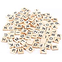100 Pcs Wooden Alphabet Scrabble Tiles Pieces Black Letters and Numbers for Crafts Pendants Spelling by Delaman