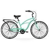 "sixthreezero Around The Block Women's 3-Speed Beach Cruiser Bicycle, 24"" Wheels, Mint Green with Black Seat and Grips"
