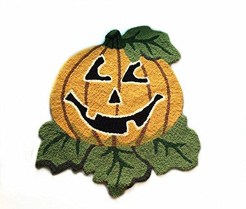 Ustide Cute Pumpkin Door Mat Yellow Pumpkin Washable Rug Modern Fashion Mischievous Rug for Halloween