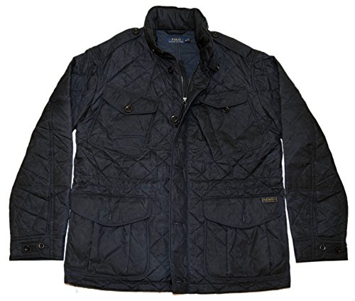 Ralph Lauren Polo Mens Distressed Vintage Quilted Cargo Jacket Coat Navy XL ()