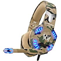 VersionTECH. G2600 Pro Gaming Headset for PS4 Xbox One, Gaming Headphones with Mic, Noise Reduction, Stereo Bass Surround, LED Lights for Laptop, Mac, PC, Nintendo Switch Games-Camouflage