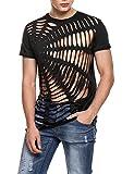Coofandy Men's Hipster Hip Hop Tees Cotton Crewneck Cutout Tees Summer Fashion T Shirt Black Small