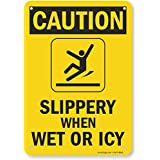 "SmartSign Plastic Sign, Legend""Caution: Slippery When Wet or ICY"", 10"" High X 7"" Wide, Black on Yellow"
