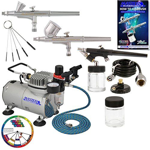 Master Airbrush Professional 3 Airbrush Kit with Compress...