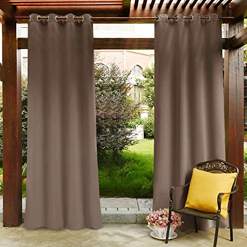 PONY DANCE Patio Curtains Outdoor - Blackout Shades Drapery Thermal Insulated Light Blocking Window Treatments Panels for Garden, Mocha, 52 W by 84 in L, Set of 1 Piece ()