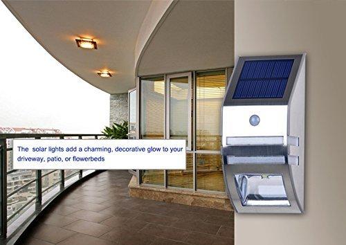 amazoncom solar automatic motion sensor wall mount path light silver 1pck garden u0026 outdoor