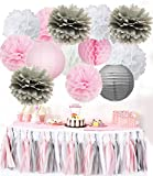 Girl Birthday Decorations Furuix 24pcs Pink Grey White /Tassel Garland Paper Lanterns Tissue Paper Pom Pom Honeycomb Ball for Bridal Shower Wedding Decoration/ Baby Shower Decorations