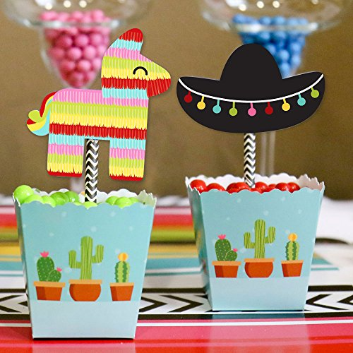 Let's Fiesta - Paper Straw Decor - Mexican Fiesta Party Striped Decorative Straws - Set of 24