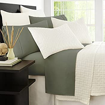 Zen Bamboo Luxury 1500 Series Bed Sheets - Eco-Friendly, Hypoallergenic and Wrinkle Resistant Rayon Derived from Bamboo - 4-Piece - Queen - Olive