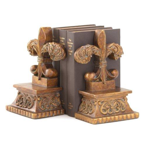 - Gifts & Decor Fleur-DE-LIS BOOKENDS, Brown