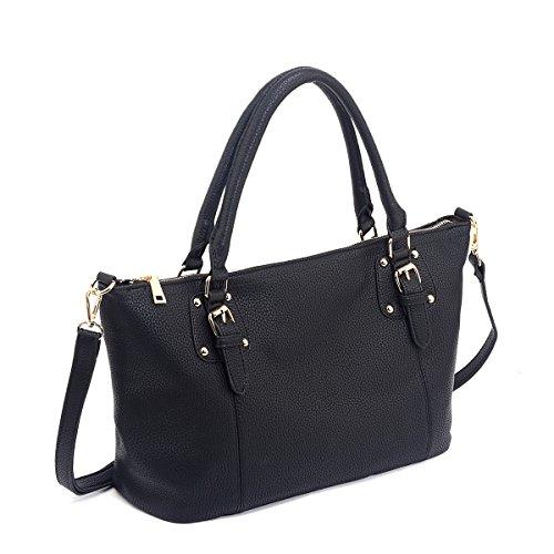 Shopping Bag Leather Bag Tote Bags Large Shoulder Bag for Ladies (Black)