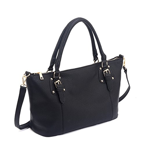 Purse Zip Top Black (Shopping Bag Leather Bag Tote Bags Large Shoulder Bag for Ladies (Black))