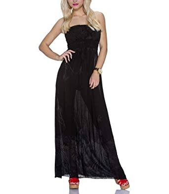 Bandeau Maxikleid trägerlos rückenfrei Sommerkleid Kleid lang ...
