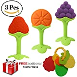 Best Baby Teething Toys for Exercising Infant Hands, Gums, and Teeth, NUNECHIC Fruit-Shaped Soft Key Teethers Made of BPA-Free Silicone, [4 Pack]