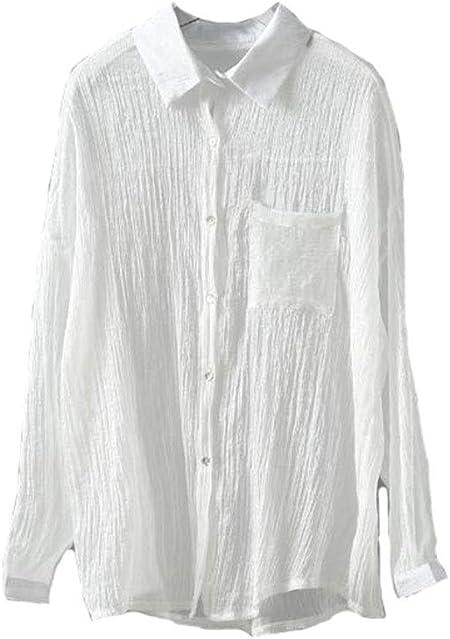 DAFREW Camisa de protección Solar Camisa Fina de Verano Camisa de Manga Larga Camisa Casual Holgada Camisa Playera Camiseta Elegante (Color : Blanco, Tamaño : L): Amazon.es: Hogar