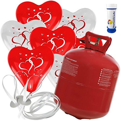 100 Herz Luftballons mit Helium Ballon Gas Motiv Herzen Hochzeit Valentinstag Komplettset + Gratis Doriantrade Seifenblasen (Rot/Weiß)