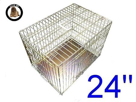 Ellie-Bo perro perrito de la jaula plegable 2 puerta con orificio non-chew bandeja de metal pequeño (61 cm): Amazon.es: Productos para mascotas