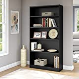 Universal 5 Shelf Bookcase in Classic Black