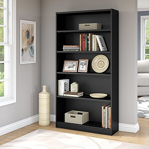 Bush Furniture Universal 5 Shelf Bookcase in Classic Black