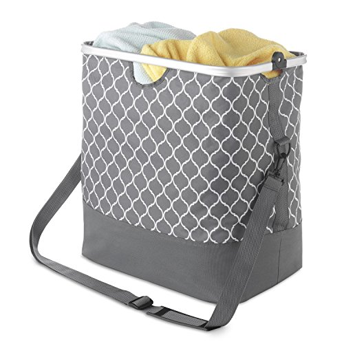 Whitmor Aluminum Frame Laundry Hamper Tote Medallion Gray