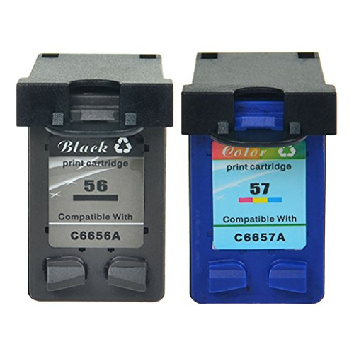 NineLeaf High Yield 2PK #56 C6656AN Black #57 C6657AN Color Remanufactured Ink Cartridge Compatible for HP PSC 1100 1110 1118 1200 1205 1209 1210(Shows Ink Level,1 Black & 1 Color)