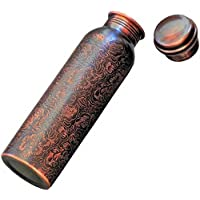 balanceactive Pure Copper Bottle, Engraved & Antique Design, No Joint, 100% Pure Copper Bottle, Copper Bottles for Water 1 Liter, Copper Water Bottles 1 Litre