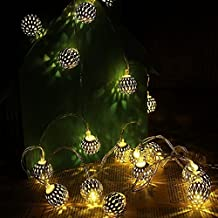LED Solar Globe String Lights, Morocco Lanterns Battery Operated Fairy Lights for Garden Lawn Patio Decoration Lights Warm White