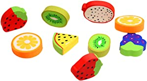 TOYANDONA 50pcs Cute Eraser Fruit Shape Rubber Pencil Eraser Novelty Sweet Food Stationery Set for Kids Students School Classroom (Random Pattern)