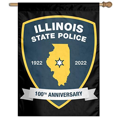 TYZBAOOSDUP Illinois State Police House Flag Decorative Garden Flag Yard Banner Garden Flags 27x37