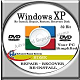 Software : WINDOWS XP SYSTEM REPAIR & RE-INSTALL 32 Bit BOOT DISK: Repair & Re-install Windows XP HOME (Repair-Restore-Reinstall)