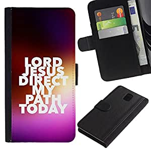 Billetera de Cuero Caso Titular de la tarjeta Carcasa Funda para Samsung Galaxy Note 3 III N9000 N9002 N9005 / BIBLE Lord Jesus / STRONG