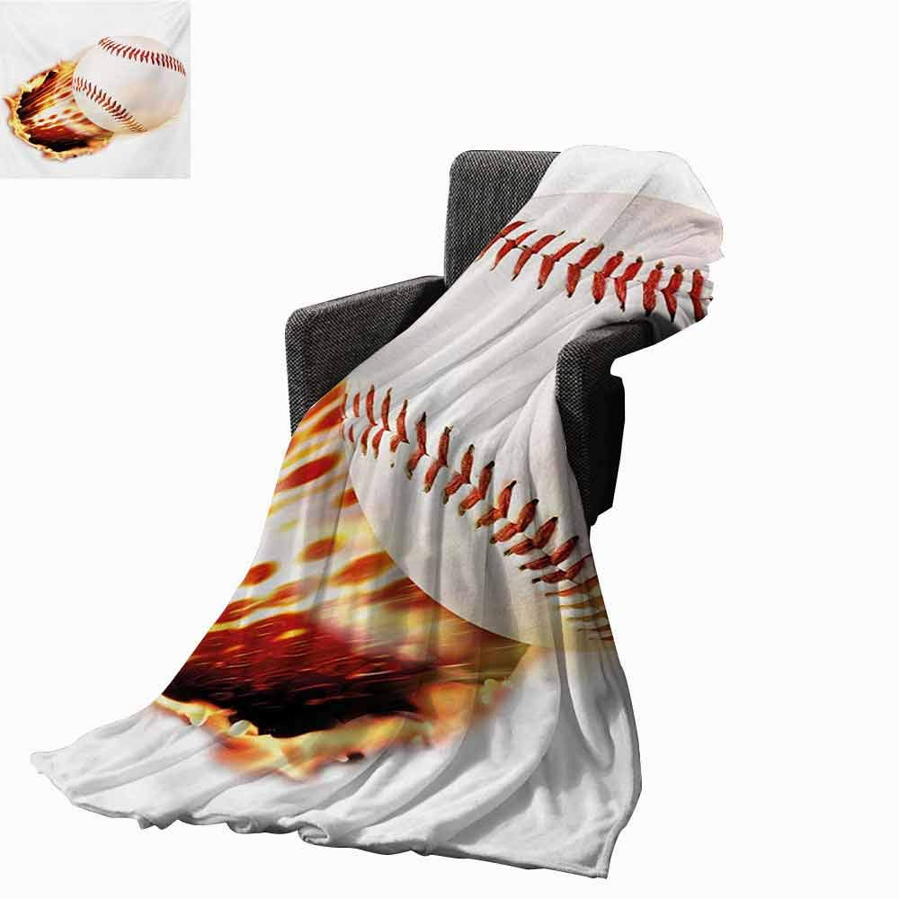vanfan-home Boys Room Swaddle Blanket,Vivid Baseball Ball Tearing The Paper Background with Flames Sports Print Lightweight Extra Soft Skin Fabric Not Allergic (70''x50'')-Red Yellow White