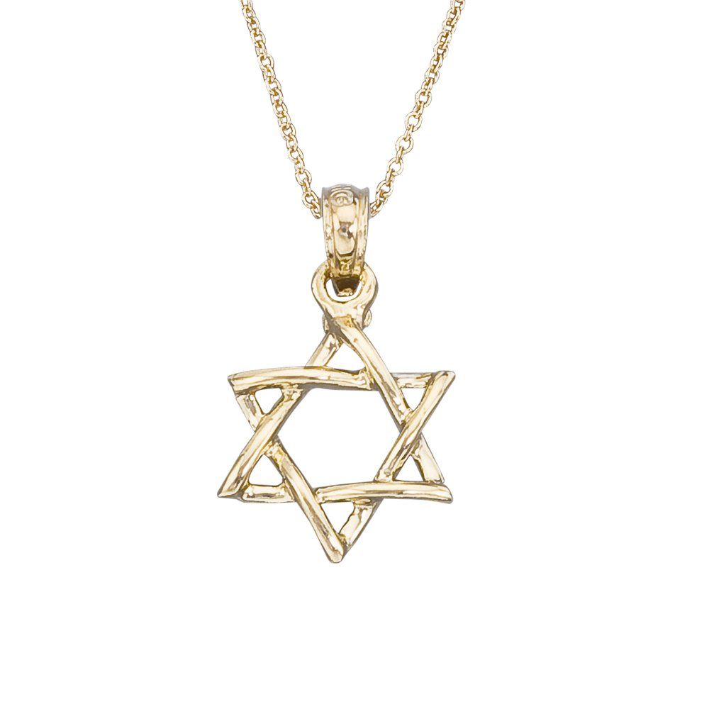 14k Gold Small Star of David Children's Necklace 15''