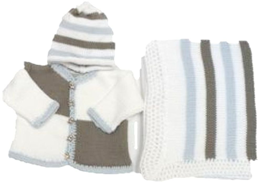 Knitted Crochet Finished White Dark Grey Blocked Cotton Cardigan Hat Blanket (0-6 mo) by Sanjit