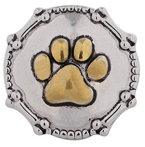 Rockin Angels Silver Gold Dog Paw Pet Bones 20mm Snap Charm for Ginger Snaps Magnolia Vine