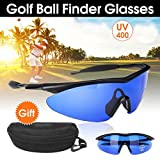 ZBSPM 2Pcs Golf Ball Finder Glasses, Find Blue Ball Golf Eagle Eye Glasses for Men and Women, Sports Sunglasses Golf Accessories