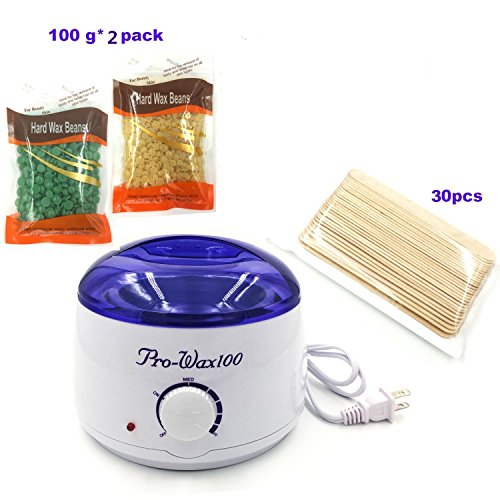 VinewS Hair Removal Waxing Kit- Electric Hot Wax Heater with Hard Wax Beans and 30 Wax Wood Sticks