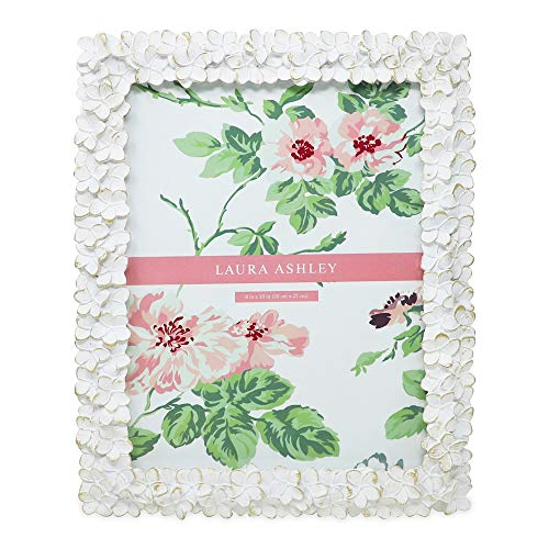 Laura Ashley 8x10 White & Gold Flower Textured Hand-Crafted Resin Picture Frame w/Easel & Hook for Tabletop & Wall Display, Decorative Floral Design Home Décor, Photo Gallery, Art (8x10, White/Gold) (White Frames Picture Decorative)
