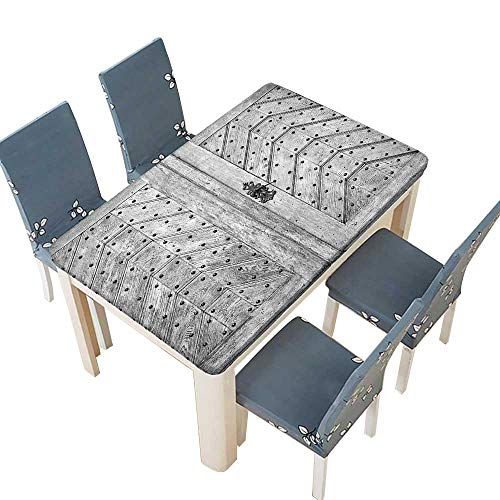 PINAFORE Tablecloth Rustic Door Exit Brads Nailed Penal ed Culture Middle Ages Print Wooden Gray Table Top Cover W65 x L104 INCH (Elastic Edge)
