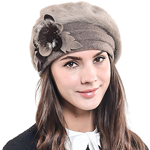 F&N STORY Lady French Beret Wool Beret Chic Beanie Winter Hat Jf-br022 (BR022-Brown Angora)
