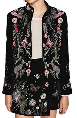Coat Print Velvet (Alion Women Slim Fit Velvet Embroidery Print Suit Blazer Black XS)