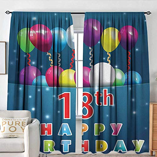 18th Scale Yellow - NUOMANAN Print Pattern Curtains 18th Birthday,Party Time with Colorful Flying Balloons on Star Like Backdrop Happiness,Blue and White,for Room Darkening Panels for Living Room, Bedroom 120