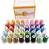 New brothreads 40 Brother Colors Polyester Embroidery Machine Thread Kit 500M (550Y) Each Spool for Brother Babylock...